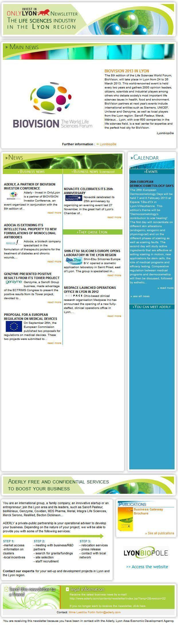Newsletter Sciences de la Vie